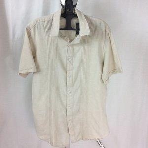 Apt. 9 Linen Blend Short Sleeve Shirt Size M
